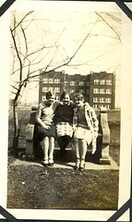 Verna Smith and friends in front of Goshen College Administrative Building